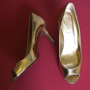 Gold peep toe JCrew sz 9 heels